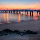 Woodland Beach Fishing Pier Dawn by Michael Mill