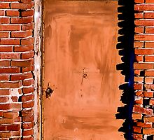 Brown Door and Weathered Bricks by Bob Wall