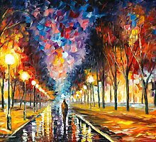 EVENING STROLL - original oil painting on canvas by Leonid Afremov by Leonid  Afremov