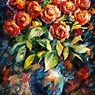 RED ROSES - original oil painting on canvas by Leonid Afremov by Leonid  Afremov
