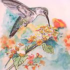 Lantana and Hummingbird by Diane Rodriguez