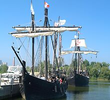 Nina and Pinta in Port by BarbL