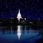 Starry Night Idaho Falls Temple 20x24 by Ken Fortie