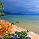 Sunset at the beach in a tropical pardise - Puesta del sol en la playa en un paraiso tropical by Bernhard Matejka