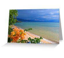 Sunset at the beach in a tropical pardise - Puesta del sol en la playa en un paraiso tropical Greeting Card