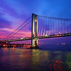 Verrazano Narrows Bridge Digital water color by Timothy Gass