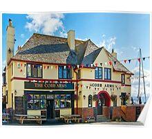 Colourful Cobb Arms ~ Lyme Regis Poster
