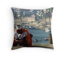 Saddhu Sits by the Ganges Throw Pillow
