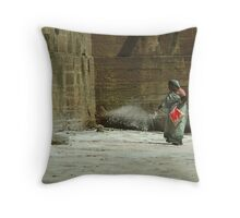 Scattering Lime on the Steps Throw Pillow