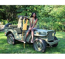 Violet on a Jeep, Tuskegee Airman Photographic Print