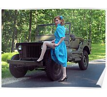 Dori Jean with a 1941 Willys MB Poster