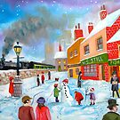 Winter train townscape original oil painting Gordon Bruce art by gordonbruce