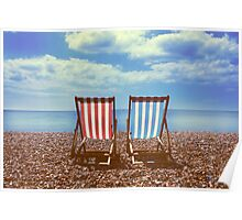 Deck chairs on Brighton beach  Poster