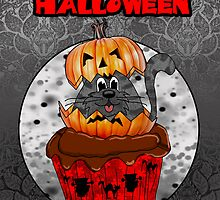 halloween cupcake cat, grey tabby in a halloween pumpkin  by Moonlake