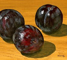 basking black plums by bernzweig