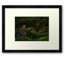 Strange Encounter in the Ancient Forest Framed Print