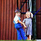 Amish Children Playing  by Marcia Rubin