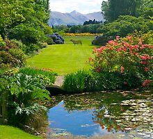 Long lawn, Flaxmere Gardens, South Island, NZ. by johnrf