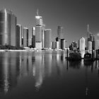 Brisbane River and City at dawn. Queensland, Australia. (B&W) by Ralph de Zilva