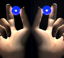 Thumb and Pointy Finger Hold a Blue Ball-Symmetricaly  by Ann Morgan