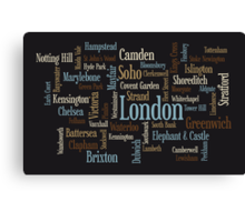 London Text Typographic Map Canvas Print