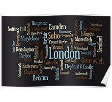 London Text Typographic Map Poster