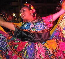 Young Mexican folklore dancer - joven bailarina Mexicana by Bernhard Matejka