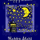 Star and Moon Greeting Card by JanDeA