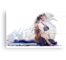 woman in yoga pose inside pigeon Canvas Print