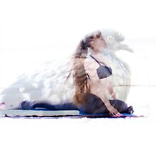woman in yoga pose inside pigeon Photographic Print