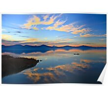 Oregon Sunset with Canoe Poster