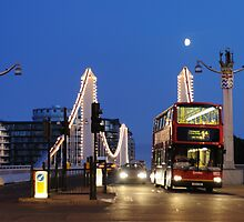 Chelsea Bridge with Red Double-decker by Kasia Nowak
