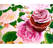Cupcakes and Roses Photographic Print