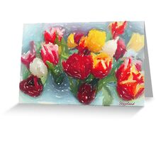 My tulips in pastels - red-orange  Greeting Card