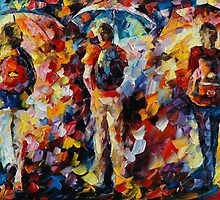 THREE UMBRELLAS - LEONID AFREMOV by Leonid  Afremov