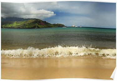 The Surf At Hanalei Bay by James Eddy