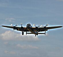 Lancaster Bomber In Flight by Laura-Jane Shepherd