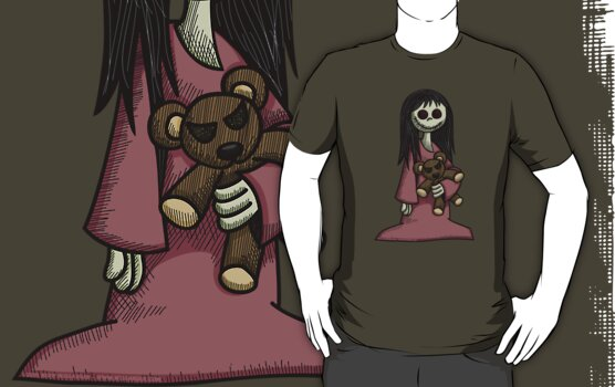 Creepy Girl with Teddy Bear by Wislander