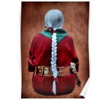 White Braided Hair, Red Dress Poster