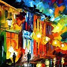 LIGHTS OF THE OLD TOWN - LEONID AFREMOV by Leonid  Afremov