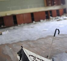 Tazmanian Devil Umbrella in abandoned school by ashley hutchinson