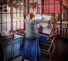 Laundry - Miss Lady Blue  by Mike  Savad