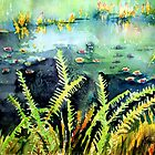 Water Lilies and Ostrich Ferns by Cal Kimola Brown
