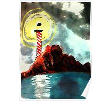 Light house as weather gets worse, watercolor Poster