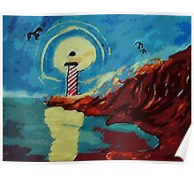Lighthouse on La Jolla,, watercolor Poster