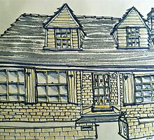 Tudor style house. Melbourne, Australia. Pen and wash on fabric. by Elizabeth Moore Golding