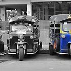 Blue Tuk Tuk Panorama by Susan Segal