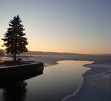 Winter Sunset on Lake Charlevoix- Boyne City, MIchigan by Melissa McKenzie