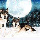 Winter Wolves fantasy art card - post card by Moonlake