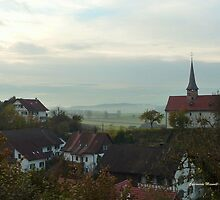 Misty Morning in Oberstammheim by Charmiene Maxwell-batten